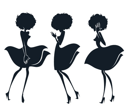 black hair girl: Collection of girl silhouettes in disco style