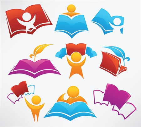 university text: education collection signs, symbol and icons Illustration