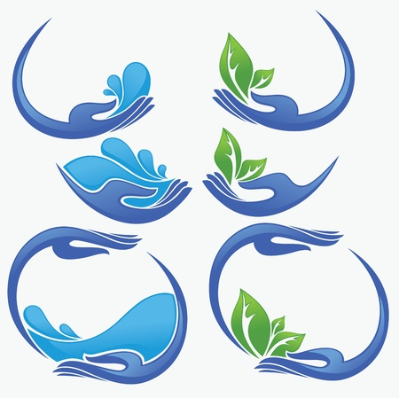 clean women hands, fresh water and green leaves Vector