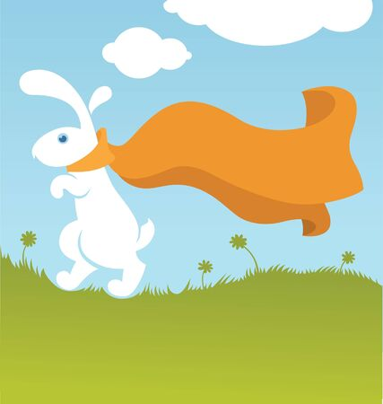 funny rabbit, Easter illustration in cartoon style with place for greeting text Stock Vector - 16926016