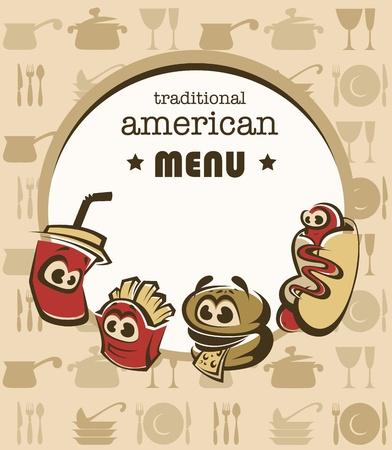 hotdogs: funny american menu Illustration