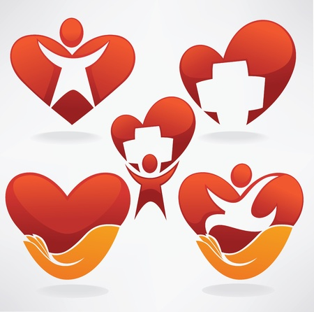vector collection of health, hearts, people and medicine Vector