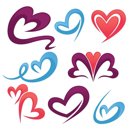 collection de vecteur de symboles d'amour, de signes et de formes Vecteurs