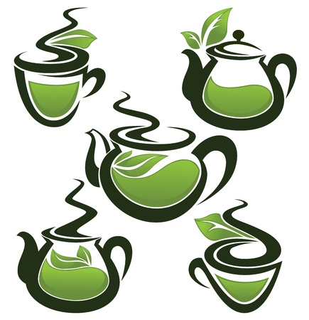 plant pot: green tea, vector collection of forms, symbols and images Illustration