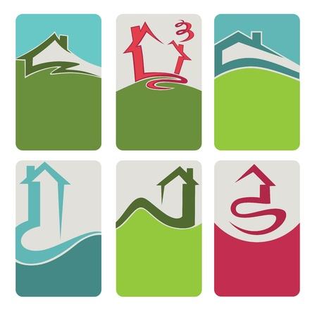 eco slogan: comprar su propio hogar, propiedades y bienes ra�ces tarjetas de visita Vectores