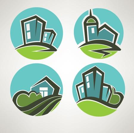 eco building: little village, building and landscape symbols