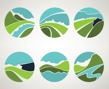 landscape and nature symbols in old style Vector