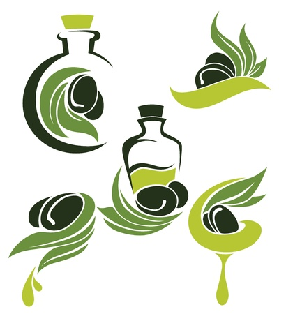 oil drop: green olive, leaves, bottles and oil, signs, symbols and icons