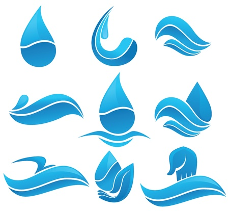Set of water design elements, signs and icons Ilustrace