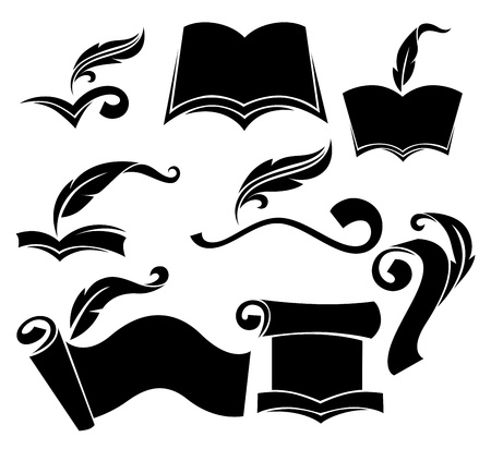wright: old books, parchment, reading and writing symbols