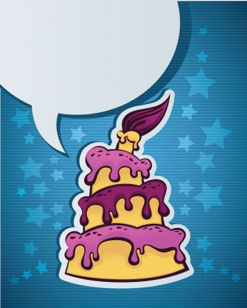 image of birthday cake, candle and speech bubble eps 10 Stock Vector - 17241130