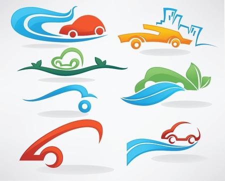 taxi: alquilar un coche o tomar un taxi, vector colecci�n de iconos un s�mbolo Vectores