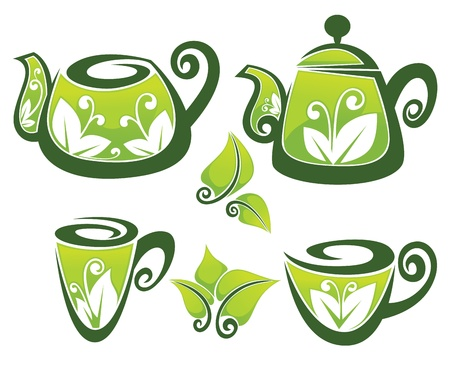 vector collection of decorated teapot and cup in organic style Vector