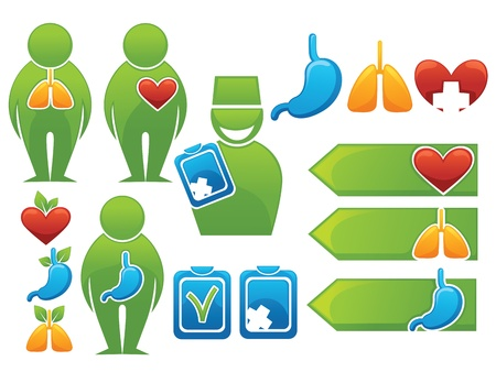 health, organs, people, medicine symbols and icons Vector