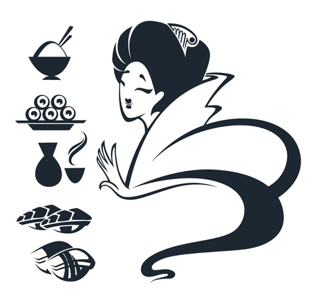oriental food: image of Japanese girl with traditional food