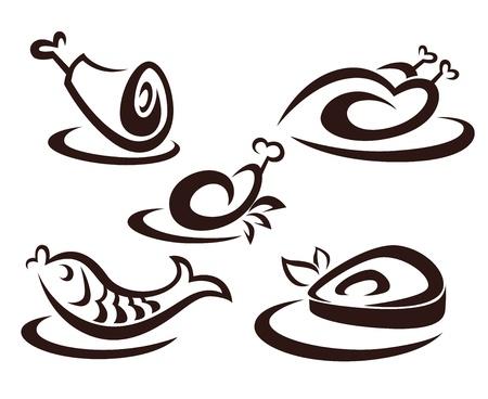 hot plate: siluetas de los alimentos y emblemas Vectores