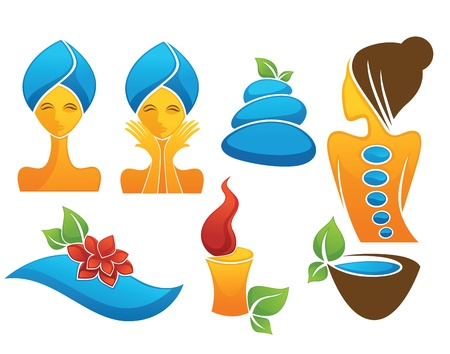 body treatment: collection of signs, symbols and icons Illustration