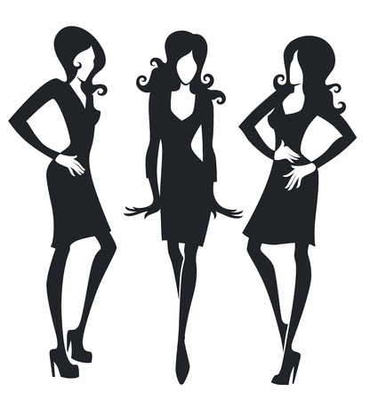 black and white woman silhouettes Stock Vector - 17560421
