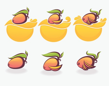 mango juice: symbols and labels vector collection
