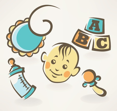 letter head: icons ans symbols in retro style Illustration