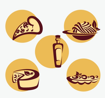 plato pasta: vector conjunto de signos y s�mbolos