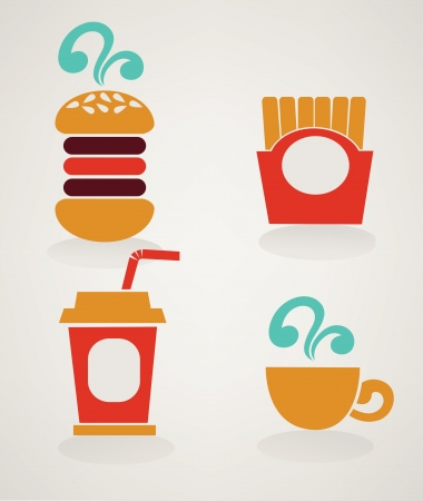 images of fast food in retro style Vector