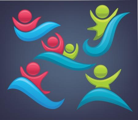 sportive: water activity symbols Illustration