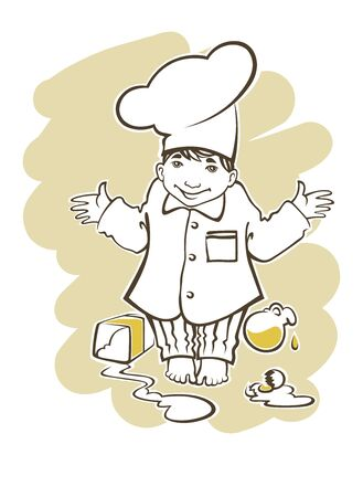 little chef: illustration in cartoon style