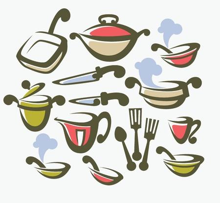 collection d'objets de cuisine