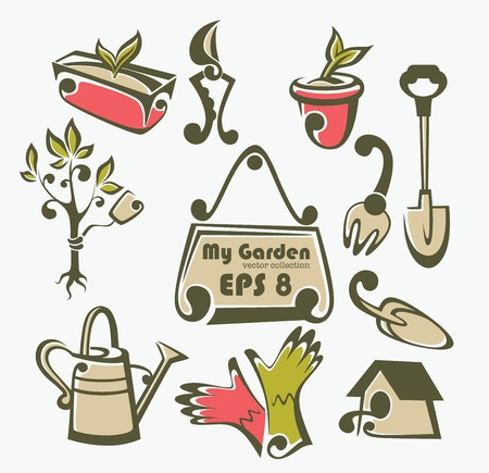 collection of gardening object Vector