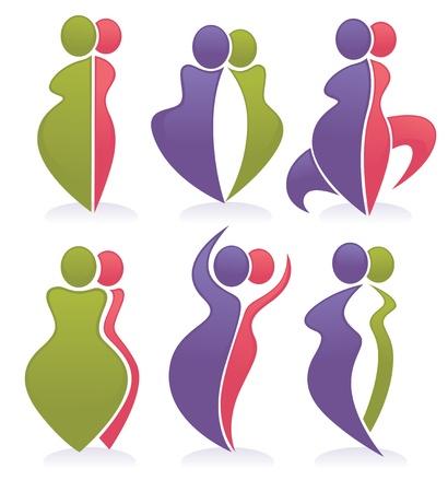 slim women: colecci�n de dieta y s�mbolos deportivos Vectores