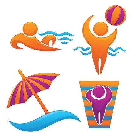 summer and vocational symbols Vector
