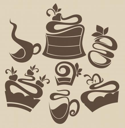 vector food silhouettes Stock Illustratie