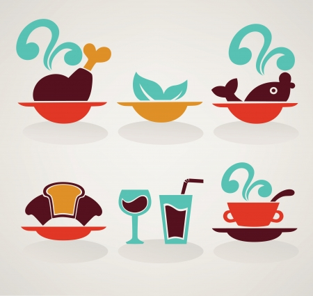 soup and salad: food and drink symbols and icons Illustration