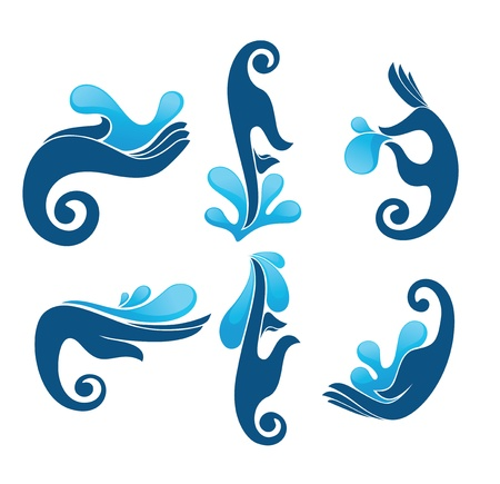 hands and water icons Stock Vector - 18684425