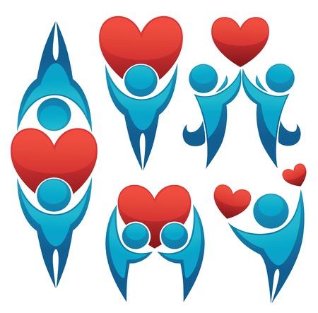corazon en la mano: s�mbolos y emblemas Vectores
