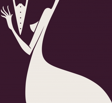 evening dress: lady and gentlemen  Illustration