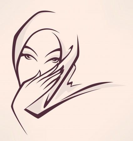 hijab: image of arabian woman on beige background