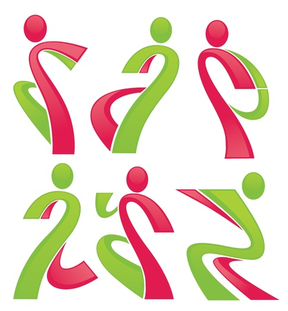 active life: vector collection of sportive abstract people