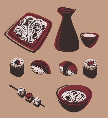 food and dish symbols Vector