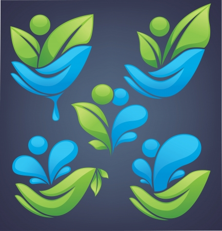 bright ecological signs and symbols Vector
