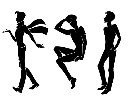 male hair model: collection of people silhouettes