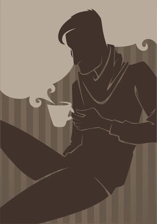handsome boys: background with human silhouette Illustration