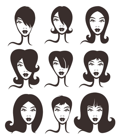 long straight hair: vector collection of different woman hairstyle Illustration