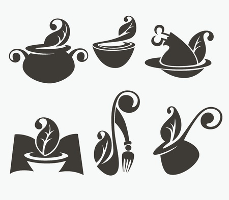 soup and salad: vector collection of food silhouettes Illustration