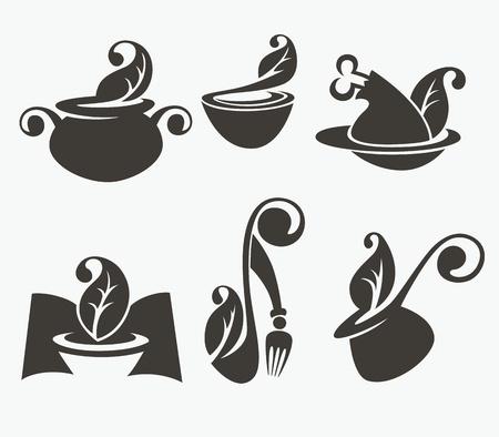 soup spoon: vector verzameling van voedsel silhouetten Stock Illustratie