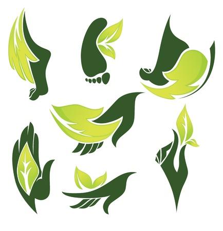 manos y pies: ciollection de símbolos de la naturaleza y los signos