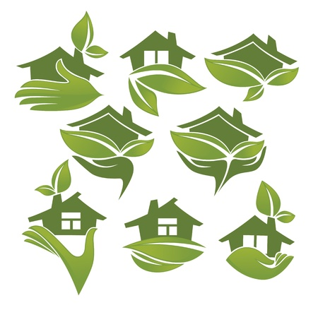 simple house: vector collection of ecologycal symbols and elements