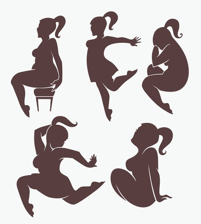 complain: vector collection of woman silhouettes