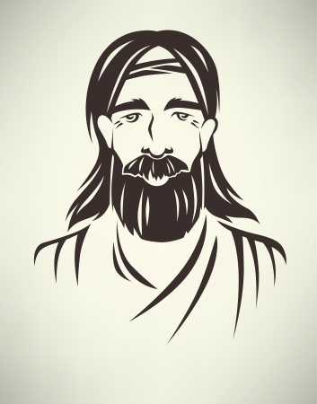 jesus christ: vector illustration with human image